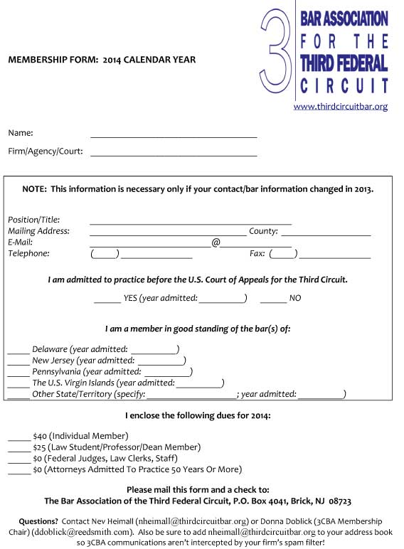 2014 Membership Renewal Form